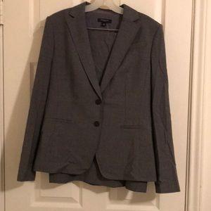 Ann Taylor grey pinstripe skirt suit